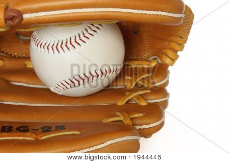 Baseball Catcher Mitt With Ball Isolated On White Background Close Up