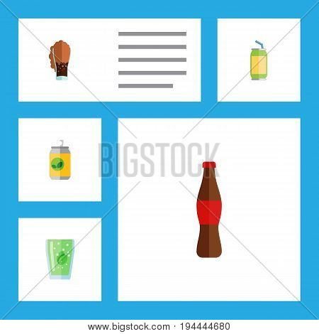 Flat Icon Beverage Set Of Drink, Cup, Soda And Other Vector Objects. Also Includes Drink, Fizzy, Bottle Elements.