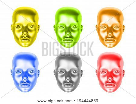 Set of multicolored female head mannequins isolated on white background