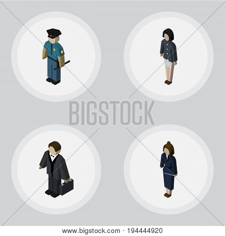 Isometric Person Set Of Investor, Officer, Businesswoman And Other Vector Objects. Also Includes Businessman, Investor, Worker Elements.