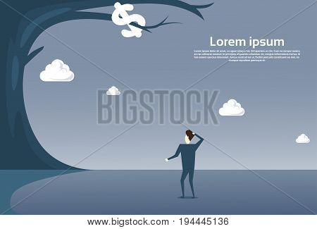 Business Man Looking At Dollar Sign Hanging On Tree Finance Crisis Concept Flat Vector Illustration