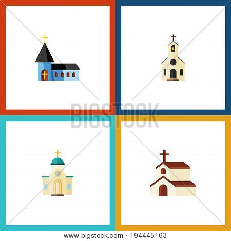 Flat Icon Building Set Of Religion, Christian, Building And Other Vector Objects. Also Includes Faith, Structure, Religion Elements.