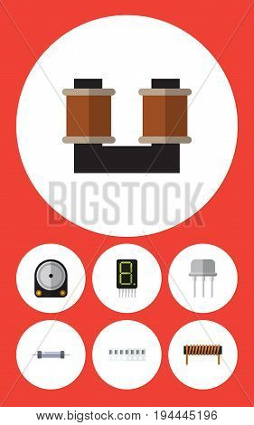 Flat Icon Technology Set Of Bobbin, Resistor, Display And Other Vector Objects. Also Includes Fiildistor, Hard, Hdd Elements.