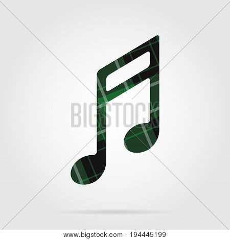 green black isolated tartan icon with white stripes - musical note and shadow in front of a gray background