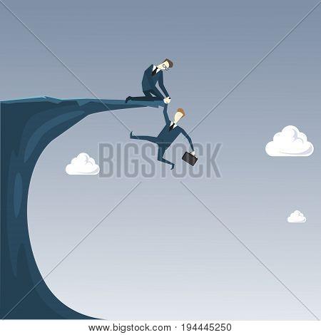 Businessman Holding Hands Hanging Cliff Partner Support Business People Risk Concept Flat Vector Illustration