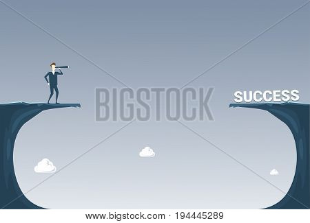 Business Man With Binoculars Looking At Successful Future Career Over Cliff Gap Risk Concept Flat Vector Illustration
