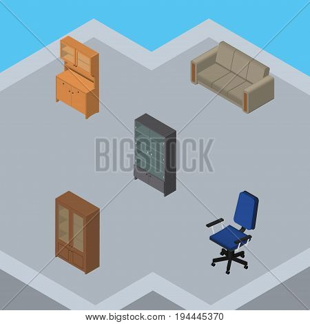 Isometric Furnishing Set Of Cupboard, Office, Sideboard And Other Vector Objects. Also Includes Closet, Settee, Chair Elements.