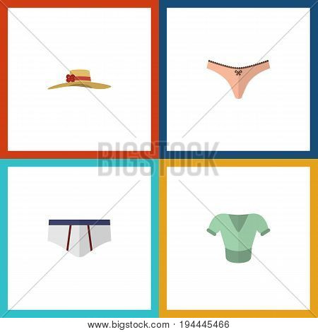 Flat Icon Clothes Set Of Underclothes, Lingerie, Casual And Other Vector Objects. Also Includes Headgear, Woman, Briefs Elements.