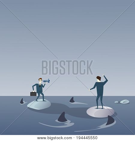 Business Men On Islands In Sea Water With Sharks Around Concept Financial Crisis Flat Vector Illustration