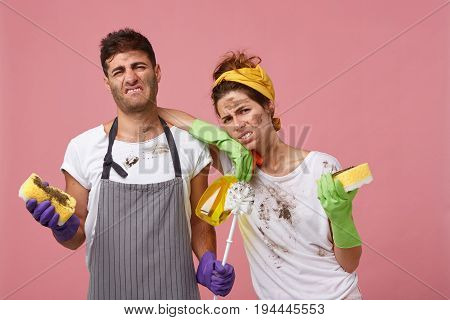 Portrait Of Service Cleaning Workers Having Discontent Look After Tidying Up Appartments Frowning Th