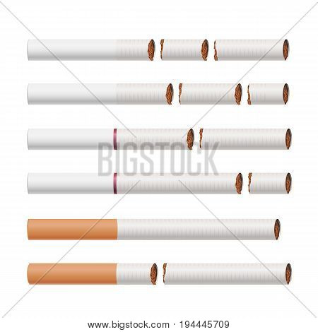 Broken Cigarettes Set Vector. Smoking Kills. Quit Smoking Concept. World No Tobacco Day. Realistic Close-up Illustration. Isolated