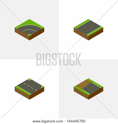 Isometric Way Set Of Incomplete, Unilateral, Bitumen And Other Vector Objects. Also Includes Bitumen, Right, Unfinished Elements.