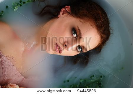 Porter is a beautiful red-haired girl with beautiful . Natural beauty, natural hair color.Ginger, in a milk bath