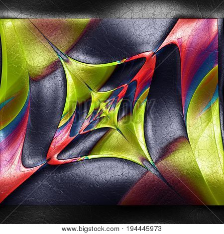 3D rendering of plastic background with embossed abstract shaped fractal on leather