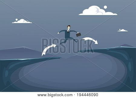 Businessman Jump Over Cliff Gap Mountain To Success Business Man Risk Concept Flat Vector Illustration