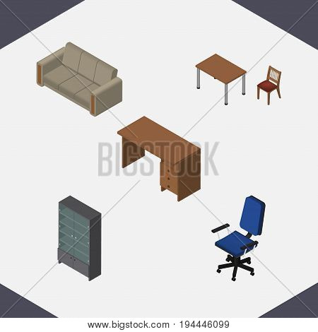 Isometric Furniture Set Of Table, Couch, Office And Other Vector Objects. Also Includes Chair, Settee, Desk Elements.