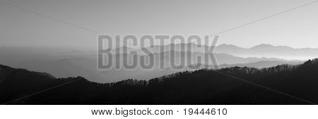 nice asian mountain view in blach and white