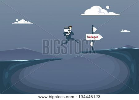 Man Holding Stack Of Book Jump Over Cliff Gap To Colleges Student Education Concept Flat Vector Illustration
