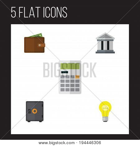 Flat Icon Finance Set Of Bank, Billfold, Bubl And Other Vector Objects. Also Includes Building, Strongbox, Safe Elements.