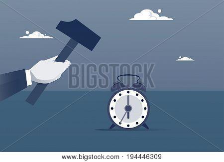 Hand Hold Hammer Broking Alarm Clock Time Management Concept Flat Vector Illustration