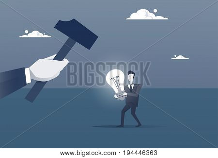 Hand Hold Hammer Broking Business Man With Light Bulb Crack New Idea Concept Concept Flat Vector Illustration