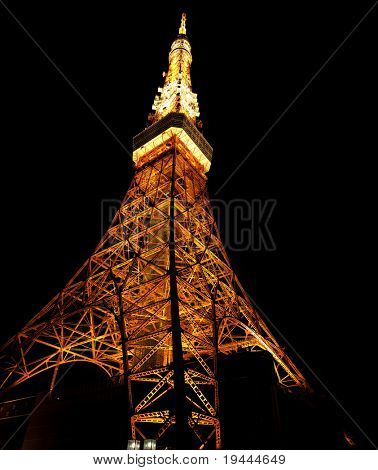Tokyo Tower at night with orange color