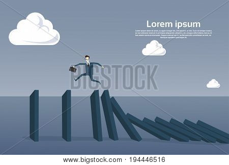 Business Man Running On Chart Bar Falling Economic Fail Crisis Concept Flat Vector Illustration