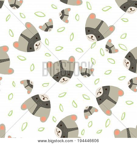 Cute raccoon with childs. Vector seamless pattern on white background.