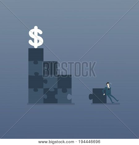 Business Man Solve Puzzle Making Stairs To Dollar Money Success Solution Strategy Concept Flat Vector Illustration