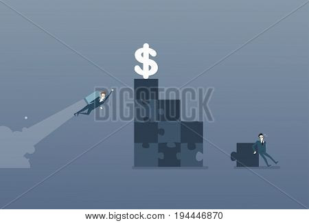 Business Man Solve Puzzle Making Stairs And Flying With Rocket To Dollar Money Success Competition Concept Flat Vector Illustration