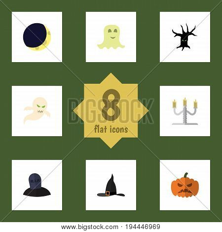 Flat Icon Halloween Set Of Spirit, Candlestick, Crescent Vector Objects. Also Includes Pumpkin, Candlestick, Crescent Elements.