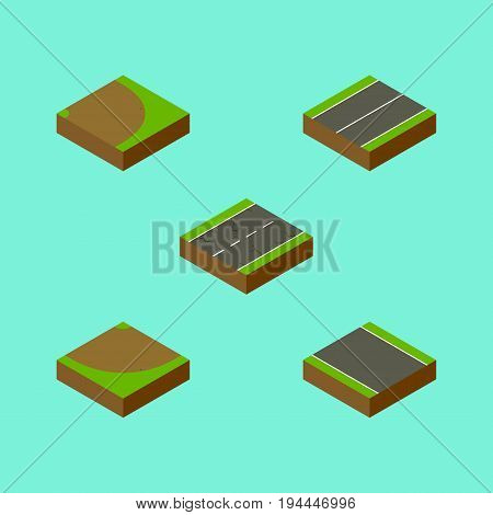 Isometric Way Set Of Rotation, Without Strip, Turn And Other Vector Objects. Also Includes Plane, Sand, Strip Elements.
