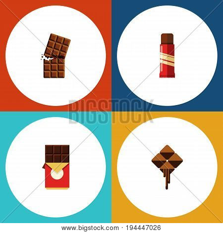 Flat Icon Sweet Set Of Delicious, Wrapper, Sweet And Other Vector Objects. Also Includes Confection, Delicious, Cocoa Elements.