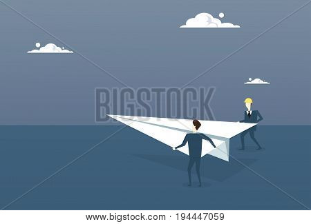Business People Launching Paper Plane Investor With New Startup Concept Flat Vector Illustration