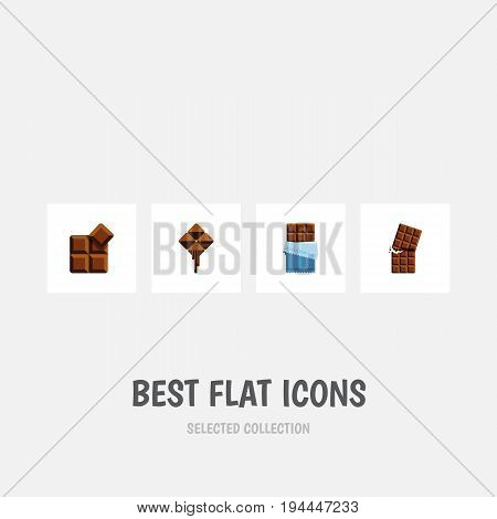 Flat Icon Cacao Set Of Delicious, Wrapper, Bitter And Other Vector Objects. Also Includes Chocolate, Wrapper, Cocoa Elements.