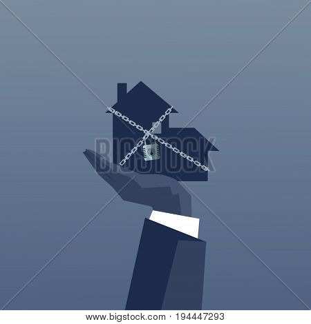 Business Man Hand Holding Chained House Debt Concept Financial Crisis Flat Vector Illustration