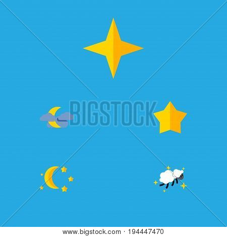 Flat Icon Midnight Set Of Star, Midnight, Starlet And Other Vector Objects. Also Includes Night, Moon, Nighttime Elements.