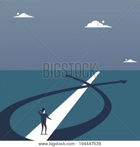 Business Man Lost Standing On Road Choose Direction Way Arrow Flat Vector Illustration