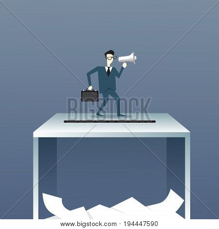 Business Man Holding Megaphone Stand On Ballot Box Voting Campaign Concept Flat Vector Illustration