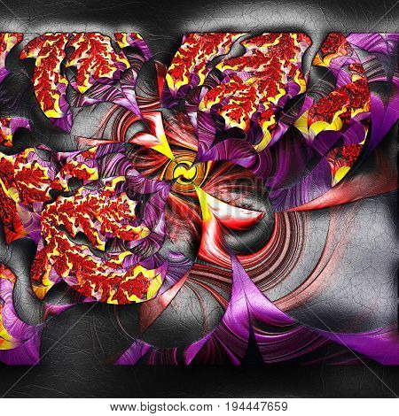 3D rendering of plastic background with embossed centrifuge fractal on leather
