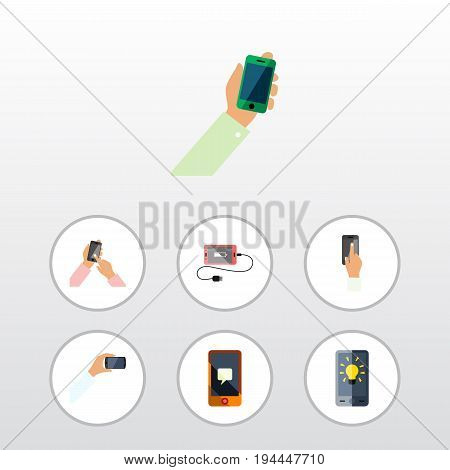 Flat Icon Phone Set Of Accumulator, Keep Phone, Touchscreen And Other Vector Objects. Also Includes Touchscreen, Accumulator, Telephone Elements.