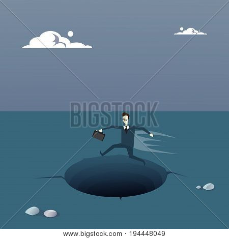 Business Man On Island In Sea Water Need Help Concept Financial Crisis Flat Vector Illustration