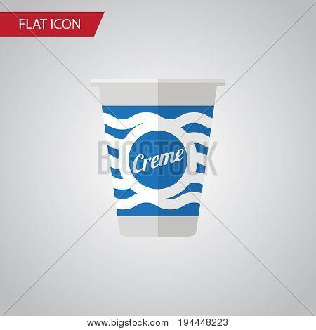Isolated Cream Flat Icon. Yogurt Vector Element Can Be Used For Cream, Yogurt, Custard Design Concept.