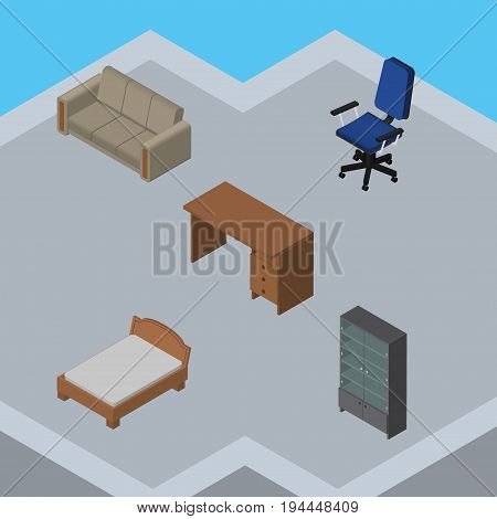 Isometric Design Set Of Table, Bedstead, Couch And Other Vector Objects. Also Includes Couch, Sideboard, Sofa Elements.