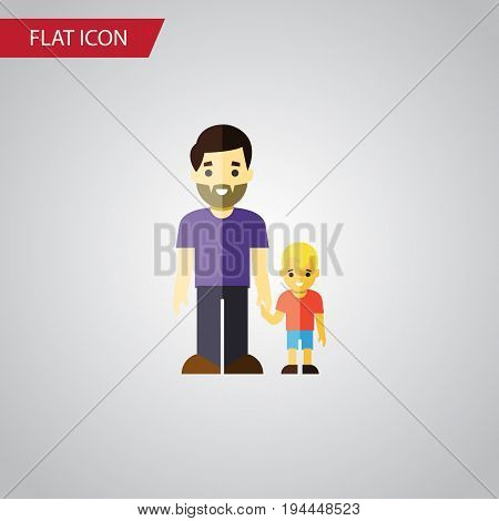 Isolated Father Flat Icon. Son Vector Element Can Be Used For Father, Son, Family Design Concept.