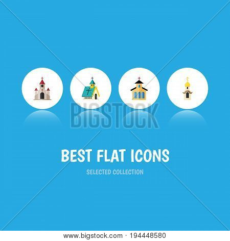 Flat Icon Building Set Of Traditional, Catholic, Architecture And Other Vector Objects. Also Includes Building, Structure, Architecture Elements.