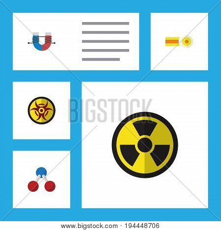 Flat Icon Study Set Of Nuclear, Irradiation, Chemical And Other Vector Objects. Also Includes Magnet, Chemical, Oxygen Elements.