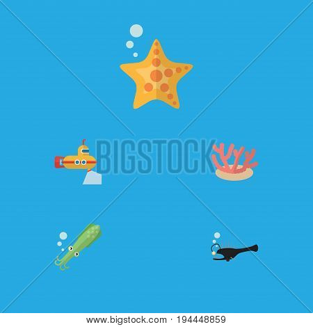 Flat Icon Sea Set Of Sea Star, Algae, Periscope And Other Vector Objects. Also Includes Seaweed, Sea, Octopus Elements.