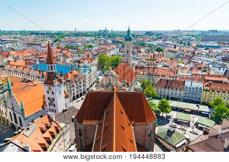 Panoramic View Of The City Centre Of Munich, Germany.