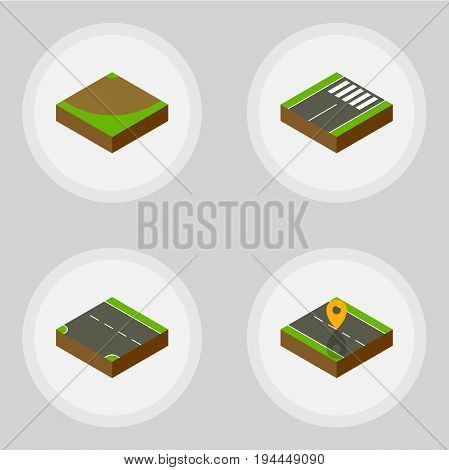Isometric Way Set Of Downward, Footer, Navigation And Other Vector Objects. Also Includes Turn, Footer, Navigation Elements.
